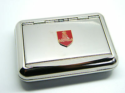 THE ROYAL TANK REGIMENT ARMY BADGE HARD METAL CHROME PLATED TOBACCO TIN MILITARY