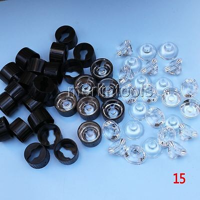 50pcs 15 degree Lens Reflector Collimator with Holder Set For 1w 3w 5w LED