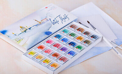 24 Watercolor Paint Set Professional WHITE NIGHTS 2.5ml RUSSIA Russian
