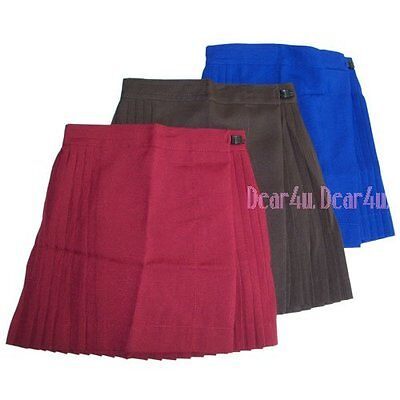 New School Uniform girls pleated gym skirt - Royal blue brown maroon 5-12