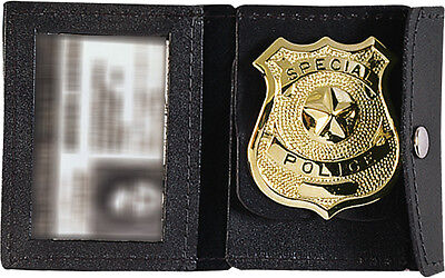 Black Leather Law Enforcement Badge & ID Holder