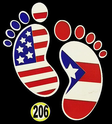 PUERTO RICO CAR DECAL STICKER FOOT MARK with USA and Puerto Rican Flag #206
