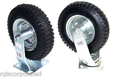 "4 Heavy Duty 8"" Air Tire Base & Wheel with bearing  2 Swivel and  2 Fixed"