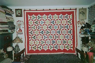 """STARS"" in Kaleidoscope Circles w. Borders QUILT: 74"" x 80"", c.1930's. Cottons."