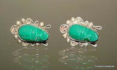 Vintage Sterling Silver Tribal Green Jade  Face Mexico Earrings Carved Mask