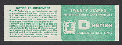 """USA - 1985 $4.40 """"D"""" Series  Booklet (20 x 22c.) Plate 1"""