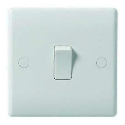 10 X Single Gang Light Switch 1 Gang 1 Way White 10A Beveled