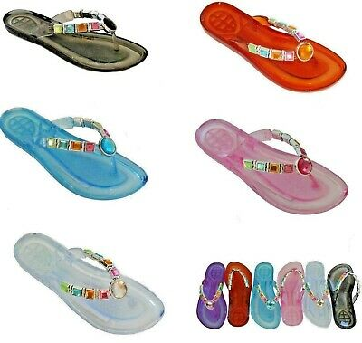 Ladies Womens Gel Flip Flops Toe Post Gems Colour Flat Sandals Size 3,4,5,6,7,8