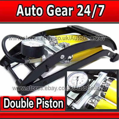 Hi Performance Double Piston Twin Barrel Car Motor Bike Van Cycle Foot Pump