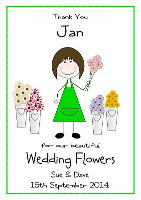 Personalised Florist Thank You Card Wedding Bouquets Flowers Renewal Bless Multi