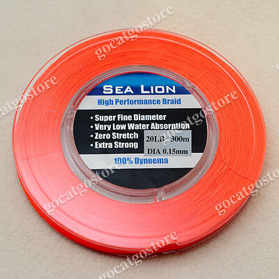 NEW Sea Lion 100% Dyneema Spectra Braid Fishing Line 300M 20lb Orange