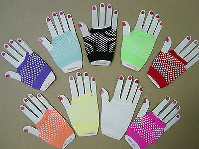 Punk Fingerless Fishnet Gloves for 80s Dance Fancy Dress