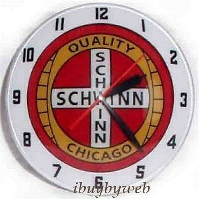 Schwinn Bicycles 1950's Style Double Bubble Lighted Glass Wall Clock NEW