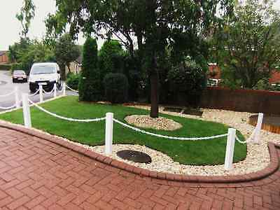 Plastic (UPVC) Post And Chain Fencing, Driveway & Garden Fence Posts & Chain (G)