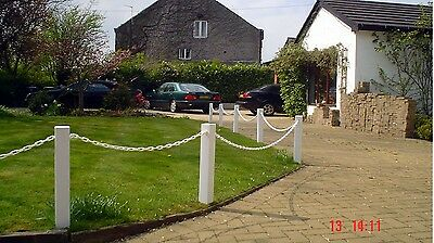 Plastic (UPVC) Post And Chain Fencing, Driveway & Garden Fence Posts & Chain (S)