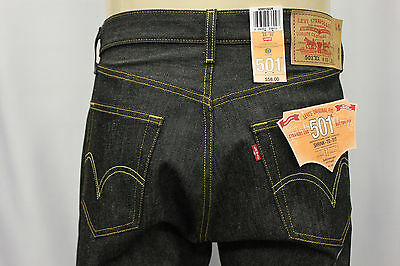 "NWT LEVI'S 501-0226 INDIGO BLACK RIGID JEANS ""SHRINK TO FIT"" LEVIS JEAN SZ:46x30"