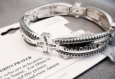 Our Father-Lord's Prayer Stretch Bracelet-Cross on Side-Prayer Card Included
