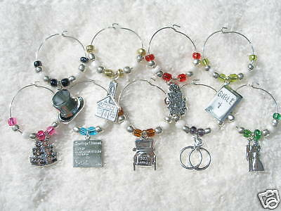 custom wedding wine charms favors bridal shower gift