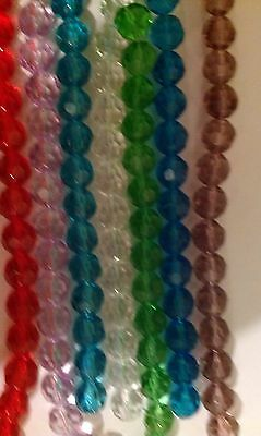 Crystal faceted Round Beads 8mm 10mm 12mm Lilac Red Black Blue Bronze 10+ Colors