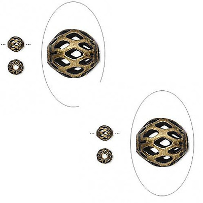 8237MB Bead, Metal, Antiqued Gold Brass, Weave Round, 6mm Filigree, 100 Qty