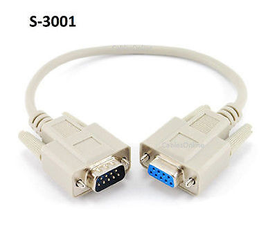 1ft DB9 Serial M to F 9-Wire Straight Thru Extension Cable, CablesOnline S-3001