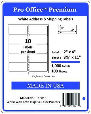 """PO10 1000 Sheets/10000Labels 2"""" x 4"""" Pro Office Self-Adhesive Address Label,5163"""