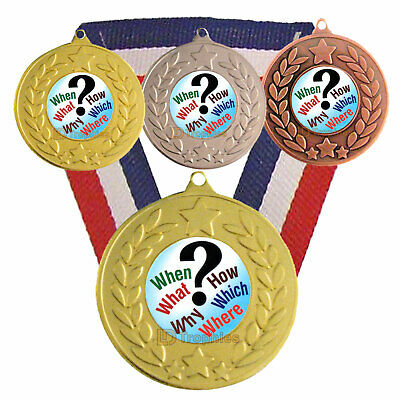 Quiz Medal & Ribbon, Free Engraving, Quiz Trophy Award, Pub Quiz Winner Question