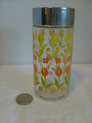 Vintage Glass salt shaker, Decorated with yellow & red TULIPS single shaker