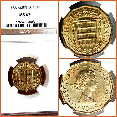 Great Britain 1960  3 Pence   Ms-63 Ngc