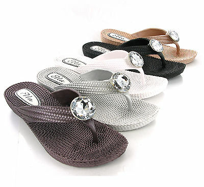 Ella Soft Flexible Comfort Flip Flop Jewelled Toepost Womens Mules Sandals UK3-8