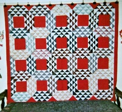 """OCEAN WAVES"" Quilt: 70"" x 80"", c.1865-1875, New England.  Turkey Red Squares"
