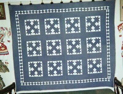"""BOTCH HANDLE"" w RUNNING DIAMONDS Quilt: 70"" x 80"", Indiana, Amish, Cottons"