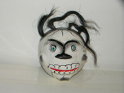 Vintage Mexican Day of the Dead Skull Wall Mask w/Hair