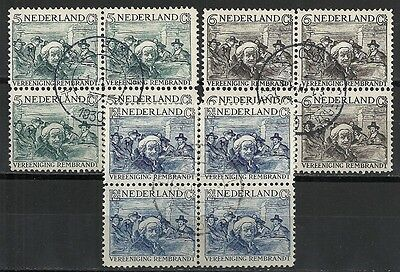 Netherlands stamps 1930 NVPH 229-231 Blocs of 4  CANC  VF