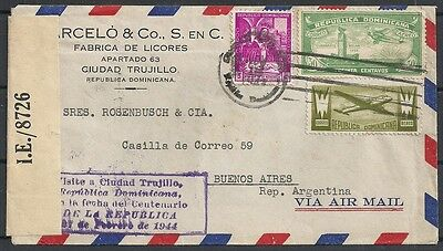 Dominicana covers 1943 cens Airmailcover to Buenos Aires