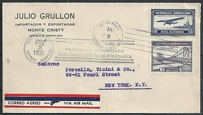 Dominicana covers 1935 mixed franked Airmailcover to New York
