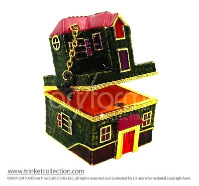 "Objet d'Art Release #345 ""The Haunted House"" Halloween Jeweled Trinket Box"