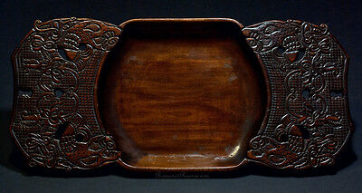 Russian Abramtsevo Antique Carved Wooden Tray c. 1910