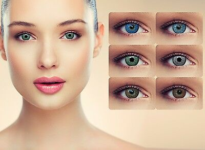 Blue green grey brown colored contacts without power natural looking big eye