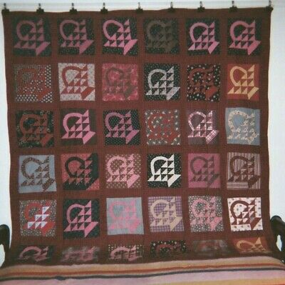 "1880's Quaker Prints -  ""BASKETS"" in Sashing Quilt: 78"" x 78"", from PA. Cottons."