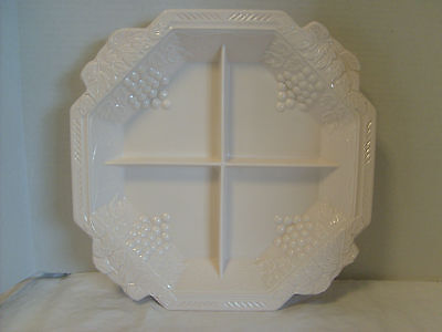 Shell Pink Milk Glass Grape & Leaves divided serving dish Centerpiece, Vintage