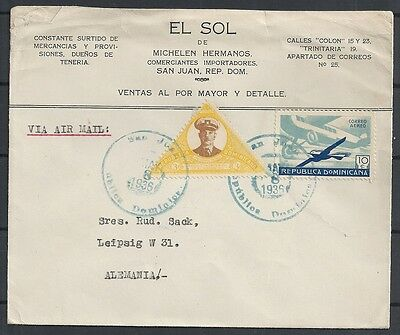 Domimicana covers 1936 Airmailcover to Leipzig