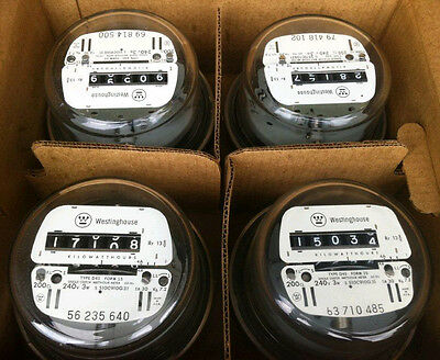 Electric Watthour Meter Kwh E-Z Read Cyclone, 240V, 200A, Residential, Lot Of 4