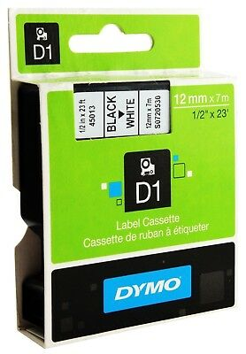 Genuine DYMO D1 LABEL 12mm x 7m - Black on White 45013