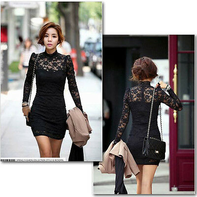 2014 Women's Long Sleeve Polo Neck Sexy Clubwear Party Cocktail Lace Mini Dress