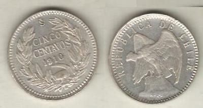 CHILE SILVER COIN 5 CENTAVOS KM 155.2a AU 1910
