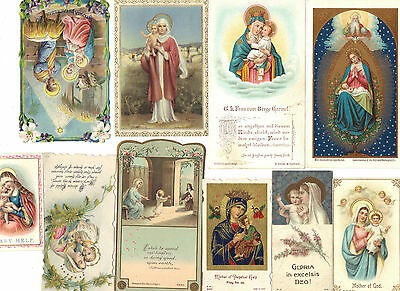 10 Antique Victorian Madonna Virgin Mary & The Child Jesus Holy Cards