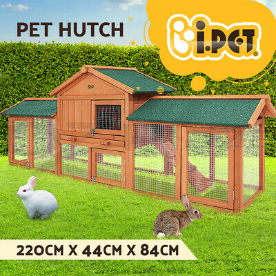 Rabbit Hutch Chicken Wooden Coop Guinea Pig Ferret Cage Hen House 2 Storey Run