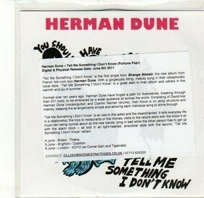 (CA661) Herman Dune, Tell Me Something I Don't Know - 2011 DJ CD