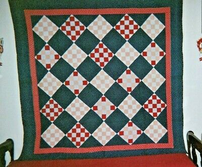 """NINE PATCH"" QUILT in Frame/Border: 78"" x 78"", c.1910, Ohio, Mennonite. Cottons."